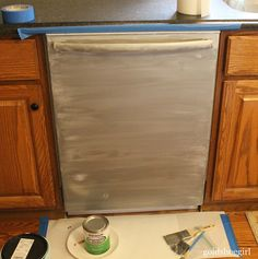 Gold Shoe Girl: How to Use Stainless Steel Appliance Paint.  Tips for sanding, multiple coats, polyacrylic topcoat