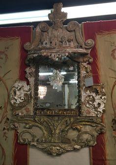 Antique Italian fragment mirror at MAI Houston
