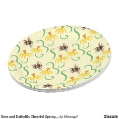 Bees and Daffodils Cheerful Spring Pattern Paper Plate Paper Napkins, Paper Plates, Anniversary Quotes, Cake Servings, Party Tableware, Love Messages, Daffodils, Pattern Paper, Hand Sanitizer