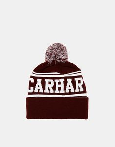 Carhartt Fan Beanie Hat With Pom Pom In Bordeaux