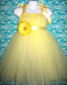 Yellow Flower Girl Tutu Dress with Daisy Flower 6 Colors by Zobows, $38.00