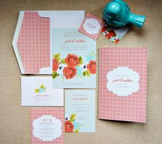 Color combo, patterns and floral. Floral Wedding Invitations, Wedding Stationery, Vintage Floral, Color Combos, Patterns, Unique Jewelry, Handmade Gifts, Inspiration, Etsy