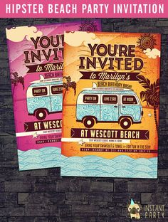 Hippy birthday invite vw bus bug invitation groovy hippie 60s hipster beach party invitation birthday summer by instantparty more stopboris Image collections