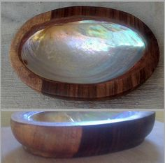 """Rosewood wooden Soap Dish with mother of pearl shell inset 5"""" long Oval"""