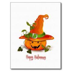 Happy Halloween Pumpkin With Hat Postcard
