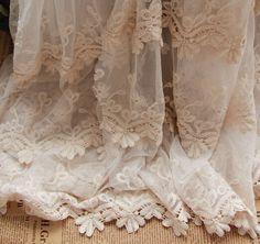 Cream coloured Lace edge Net yarn lace Dress by HQFabricFamily