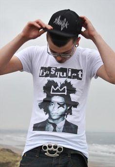 Mens low crew neck graphic t-shirt #Basquiat