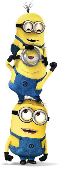 Stack of Minions! - Tim, Phil & Dave You can print this in a big size and use it to decorate a wall or pin it up in a cardboard and decorate the garden.