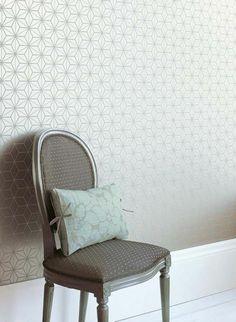 papier peint pour couloir gris avec dessin géométrique