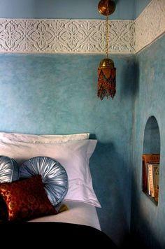 Color and wall detail ~ Dar Jaguar, Marrakech Moroccan Design, Moroccan Decor, Moroccan Style, Moroccan Lanterns, Moroccan Bedroom, Moroccan Interiors, Blue Bedroom, Bedroom Decor, Bedroom Lighting