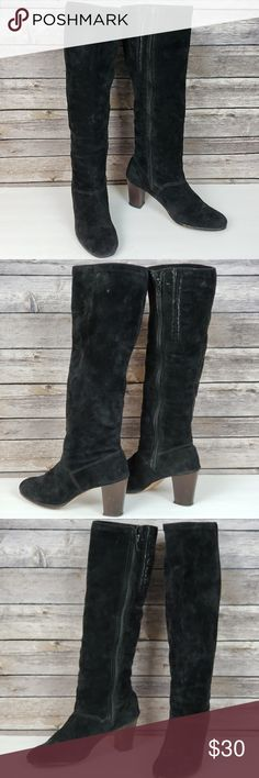 b2b4f90b770a54 Hush Puppies Black Suede Tall Boots Good condition Size 7.5 Narrow All  measurements are approximate Heel