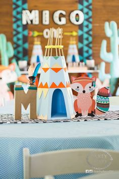 Migo's Fun Tribal and Woodland Party Will Brighten Your Day! Wild One Birthday Party, 1st Boy Birthday, First Birthday Parties, First Birthdays, Birthday Celebration, Fox Party, Bear Party, Party Deco, Woodland Party