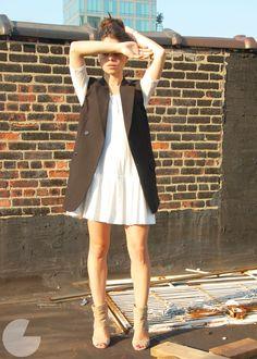 blazer vest, 3/4 white dress, ivory suede booties.