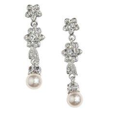 Pearl and Crystal Flower Drop Earrings - Bridal Jewellery - Crystal Bridal Accessories £27