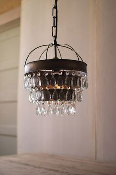 Pendant Lamp w/Layered Shade and Gems Detail