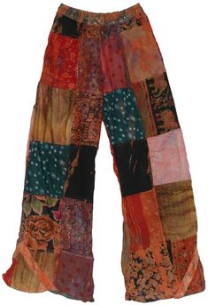 Sunfire Patchwork Lounge Pants - I had a pair of pants like these when I was a teenager and I wore them until they shredded:-] - Indie Outfits, Boho Outfits, Casual Outfits, Fashion Outfits, Cute Hippie Outfits, Indie Clothes, Hippie Dresses, Fashion 60s, Fall Hippie Fashion