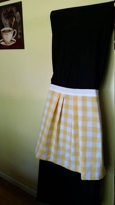 Yellow plaid pleated apron with white tie. Cotton Fabric Reversible apron