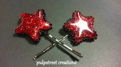 Glitter Infused Red Resin Star Hairpins by PulpStreetCreations, $7.00