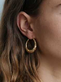 ALL BLUES | Satiated Snake Carved Earrings in Gold | The UNDONE by All Blues