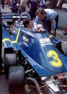 """Jody Scheckter  Tyrrell - Ford 1976 """"Tyrrell Mechanic, This things got six wheels!"""""""