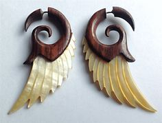 brown wooden earrings with mother of pearl shell wing earrings rare boutique style coconut jewelry fake gauge earrings tribal style fake gauges like found on etsy