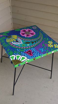 hand painted swivel table by WhimcyclebyLisa on Etsy