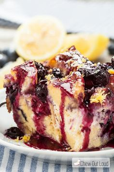Blueberry Lemon French Toast Bake With French Bread, Cream Cheese, Lemon Curd, Fresh Blueberries, Large Eggs, Whole Milk, Vanilla Extract, Pure Maple Syrup, Lemon, Granulated Sugar, Corn Starch, Water, Lemon Juice, Frozen Blueberries