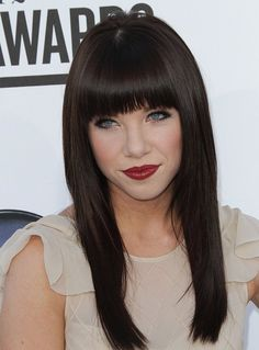 great blunt heavy bangs with long straight black hair
