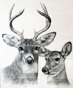 Free Deer Print Wood-Burning Patterns   Burt and Beulah, Whitetail Deer