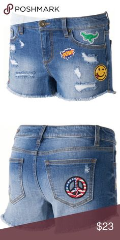 Buckle   Tinseltown Patch Work Distressed Shorts Brand new with tags! Size  5 6 7fa6cc33c1959