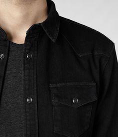 Mens Bassett Shirt (Black)   ALLSAINTS.com