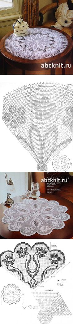 Two filet crochet Deniz Crochet Doily Diagram, Filet Crochet Charts, Crochet Doily Patterns, Thread Crochet, Crochet Designs, Crochet Stitches, Crochet Home, Crochet Crafts, Crochet Projects