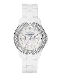 Michael Kors Acrylic-Strap Glitz Mini Madison Watch.