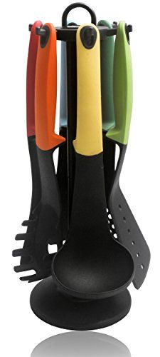 Multi-color 7-piece Nylon Kitchen Utensil Set Including Rotating Stand Crucible cookware http://www.amazon.com/dp/B0198F6HC2/ref=cm_sw_r_pi_dp_iIs7wb0YR68GQ