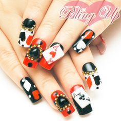 Japanese Nail Art Aces Blackjack Poker Nail Tip with 3D Nail Art and Austrian Crystals.