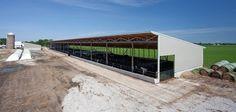 Uses: Indoor feedlot facility Sizes: 60' x 400' x 14' & 45' x 180' x 14' monoslope beef barns