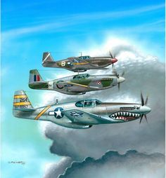 North American A-36, P-51A, and C Mustangs.