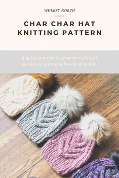 This chunky cable hat knitting pattern features a staghorn cable surrounded by a broken rib texture. It's a great pattern to try your hands at cable knitting Cable Knitting Patterns, Baby Hat Knitting Pattern, Baby Hat Patterns, Easy Knitting, Lion Brand Wool Ease, Knit Headband Pattern, Knitted Hats, Crochet Hats, Booties Crochet