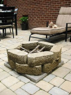 DIY a fire pit for the backyard. And while we're at it, lay stones for a patio.