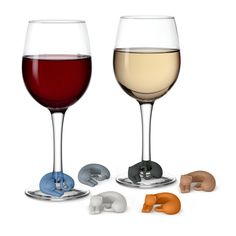 Purrfect kitty wine markers wrap around the stem of your glass and remind you which glass is yours. You get six color-coded silicone Wine Lives in each set. ...