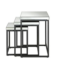 OSP Designs Krystal 3Piece Square Mirror Nesting Tables >>> You can find more details by visiting the image link.Note:It is affiliate link to Amazon.