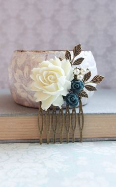 Cream Rose Comb Dark Blue Navy Rose Hair Comb by apocketofposies