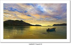 """Panorama of tropical sunset - nature background"" - Art Print from FreeArt.com"