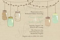 Vintage Hanging Mason Jars - Custom Rehearsal Dinner, Wedding Shower, Engagement Party Invitation - Cream, Brown, Blue, Beach - 5 Designs. $16.00, via Etsy.