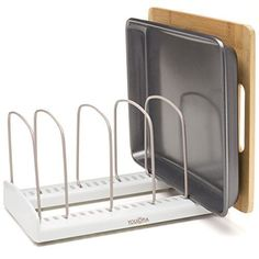 Shop for Youcopia Storemore Adjustable Bakeware Rack, White With Taupe. Pot Lid Organization, Lid Organizer, Kitchen Organization, Organizing, Cabinet Organizers, Kitchen Cabinet Storage, Storage Cabinets, Kitchen Pantries, Fridge Storage