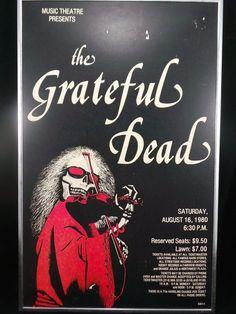 Original Grateful Dead Concert Poster Advertisement 1980 in Frame