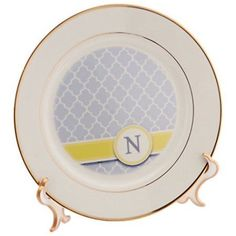 3dRose Your personal name initial letter N - monogrammed grey quatrefoil pattern - personalized yellow gray, Porcelain Plate, 8-inch