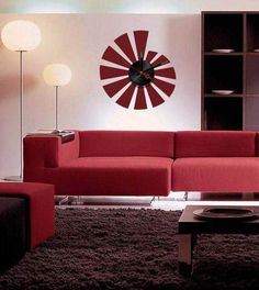 Metal and PVC combine style with effect clock activiated by bettery.decor and function combined. Wall Clock Sticker, Sofa, Couch, Mural Art, Man Cave, Wall Decor, Stickers, Furniture, Design