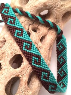 Tidal wave friendship bracelet in aqua & brown by BrightVillage