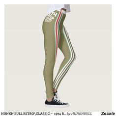 HUNKN'BULL RETRO\CLASSIC   1974 RACING OLIVE\ LEG LEGGINGS : Beautiful #Yoga Pants - #Exercise Leggings and #Running Tights - Health and Training Inspiration - Clothing for #Fitspiration and #Fitspo - #Fitness and #Gym #Inspo - #Motivational #Workout Clothes - Style AND comfort can both be achieved in one perfect pair of unique and creative yoga leggings - workout and exercise pants - and running tights - Each pair of leggings is printed before being sewn allowing for fun designs on every…